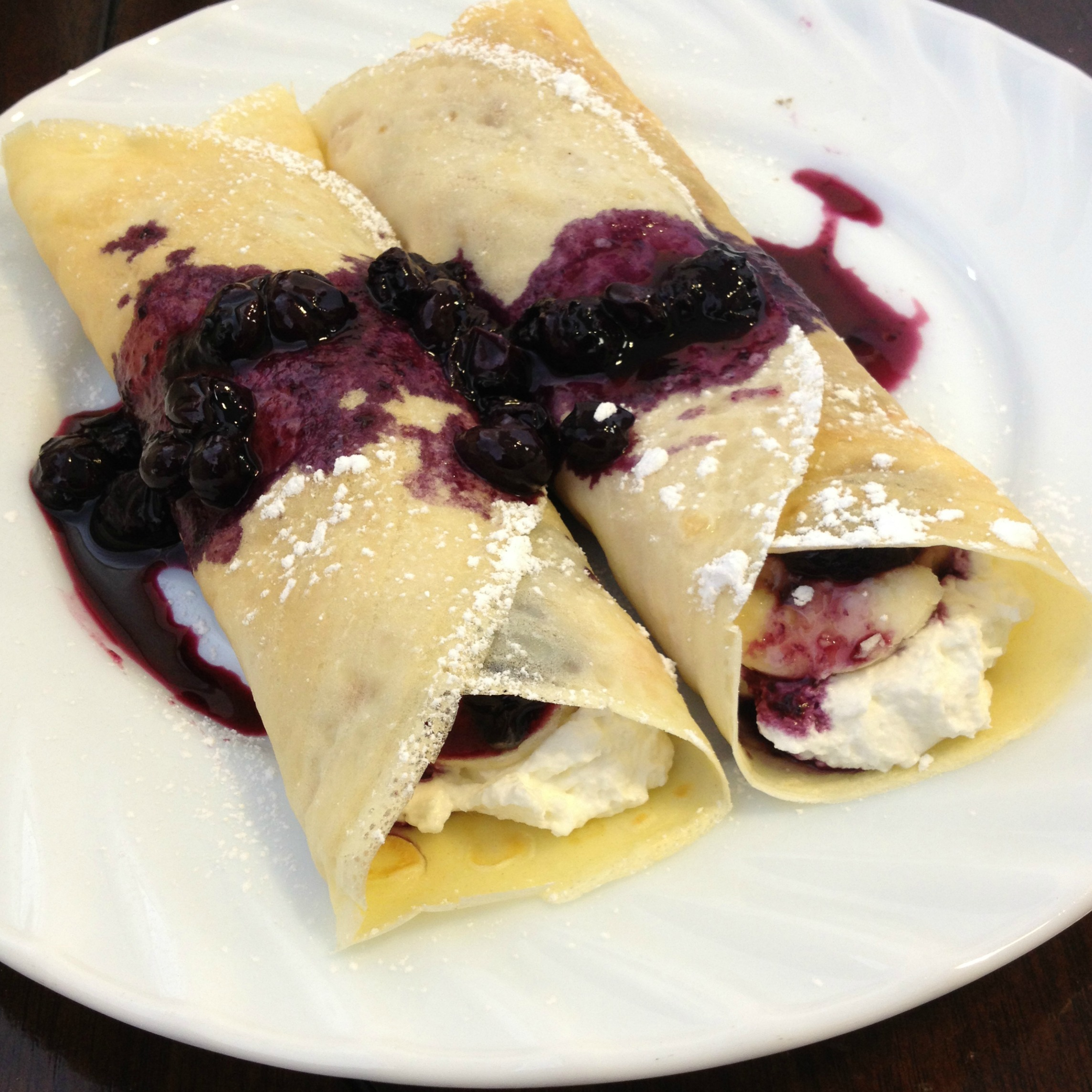 Crepes with Blueberry Sauce & Whipped Cream