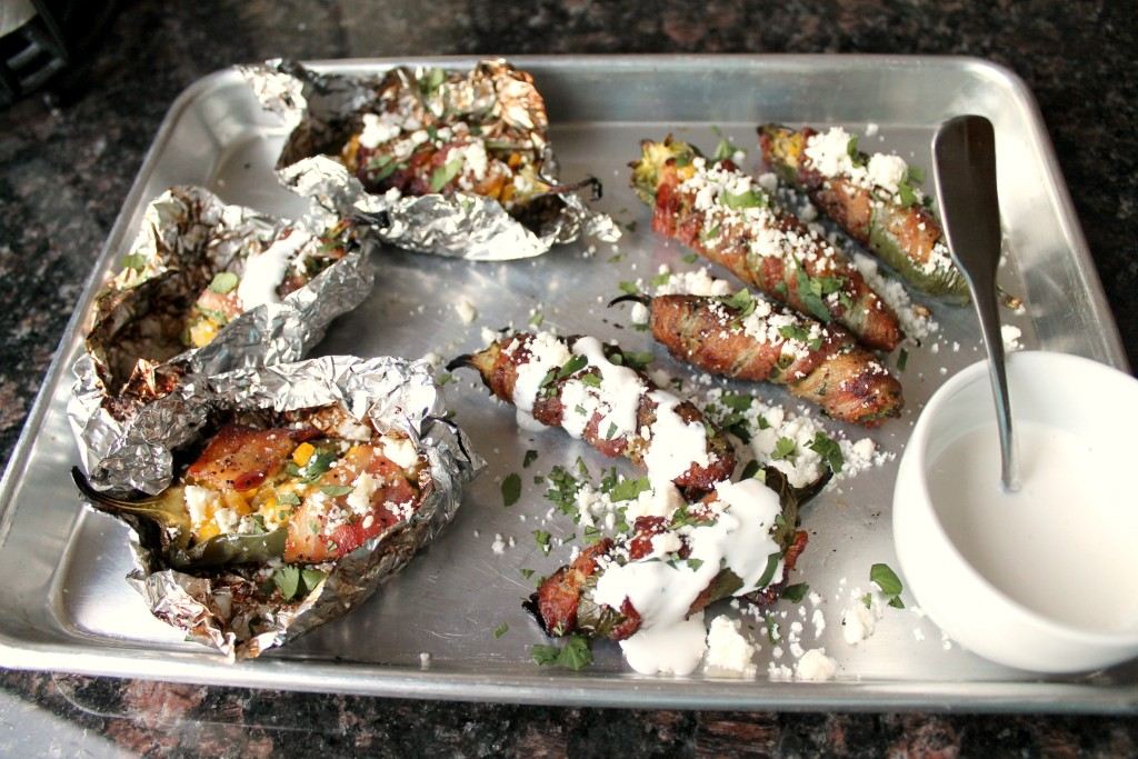 Bacon wrapped jalapenos with corn and feta cheese 13