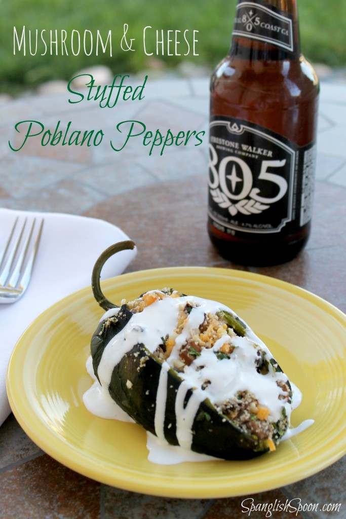 Baked chiles rellenos with mushrooms.